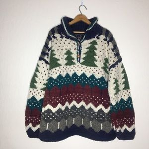 Vintage 80s homemade knitted wool blend sweater
